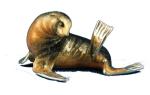 Морской лев серебро с эмалью ST367-1