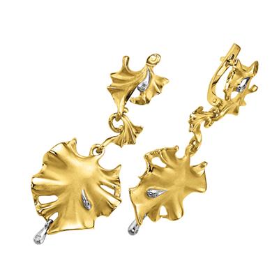 Серьги из золота БЕЛЫЕ РОСЫ С - 14046