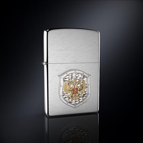 Зажигалка ГЕРБ РОССИИ эмблема из серебра