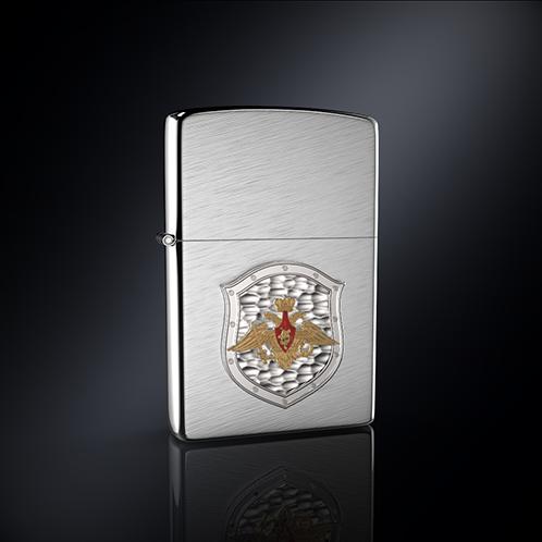 Зажигалка Министерство Обороны РОССИИ эмблема из серебра