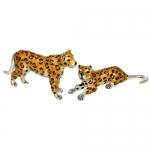 Леопарды серебро с эмалью ST545