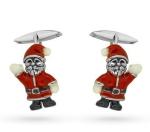 Запонки Санта Клаус серебро с эмалью GM142