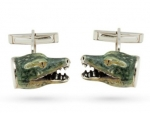 Запонки Крокодилы серебро с эмалью GM216