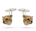 Запонки Гепарды серебро с эмалью GM203