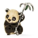 Панда с веткой серебро эмаль ST682-1