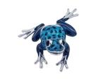 Лягушка Голубая серебро с эмалью ST280B-2