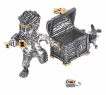 Домовой Казначей из серебра бриллиантами и позолотой