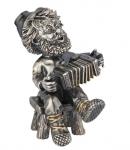 Домовой Гармонист из серебра бриллиантами и позолотой