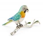 Попугай на ветке серебро с эмалью ST380-2