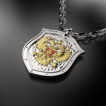 Серебряный амулет ГЕРБ РОССИИ (серебро 925 пробы)