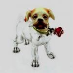 Статуэтка Собака с цветком ST243.