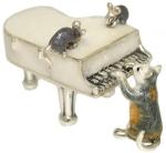 Кот с роялем, серебро с эмалью ST514