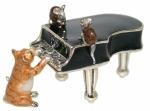 Статуэтка Кот с роялем, серебро с эмалью ST514B