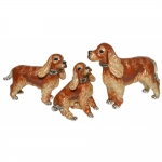 Статуэтки Три Кокер спаниеля коричневые
