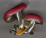 Грибы серебро с эмалью ST223.