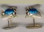 Запонки МУХА серебро с эмалью GM117