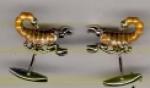 Запонки СКОРПИОН серебро с эмалью GM120