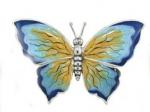 Бабочка большая серебро с эмалью ST229-1