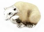 Белый Медведь большой серебро с эмалью ST296-1.