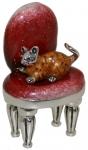 Кот на стуле, серебро с эмалью ST504