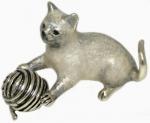 Кот с клубком, серебро с эмалью ST515B