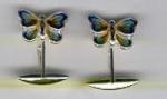 Запонки Бабочки серебро с эмалью GM58