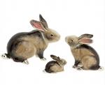 Три Кролика серебро с эмалью ST392S