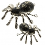 Два паука Тарантула серебро с эмалью ST533