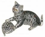 Кот серый с клубком, серебро с эмалью ST515S