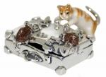 Статуэтка Кот и мыши на чемодане серебро ST586