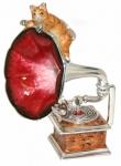 Статуэтка Кот на граммофоне серебро с эмалью ST607