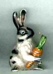 Кролик с морковкой средний серебро с эмалью  ST643-2