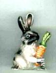 Кролик с морковкой малый серебро с эмалью  ST643-3
