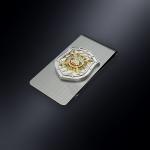 Зажим для денег ДПС (ГИБДД) РОССИИ (эмблема из серебра)