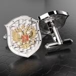 Серебряные запонки ГЕРБ РОССИИ (серебро 925 пробы)