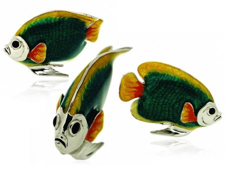 Рыбка большая серебро с эмалью